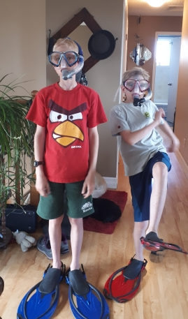 The boys trying out some snorkel gear