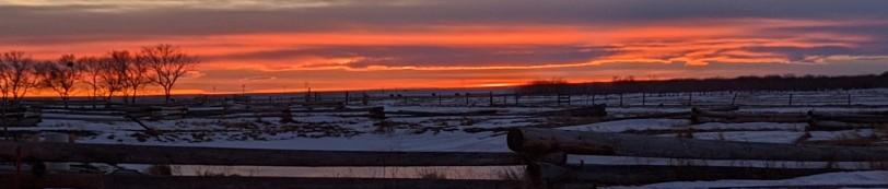 Winter sunset on the prairie