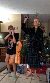 They both got 6 shooters for Christmas!